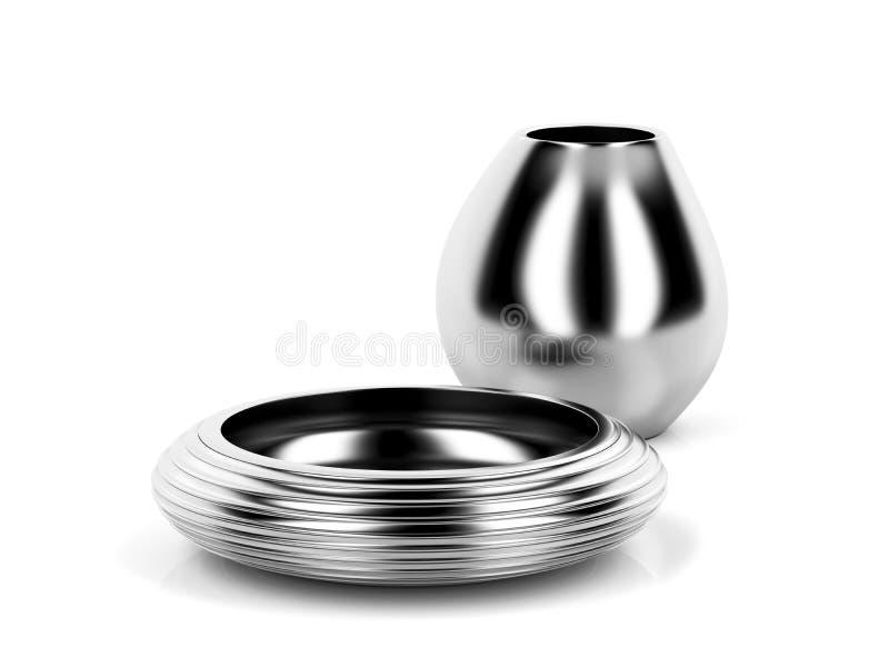 Vase et cuvette argentés illustration de vecteur
