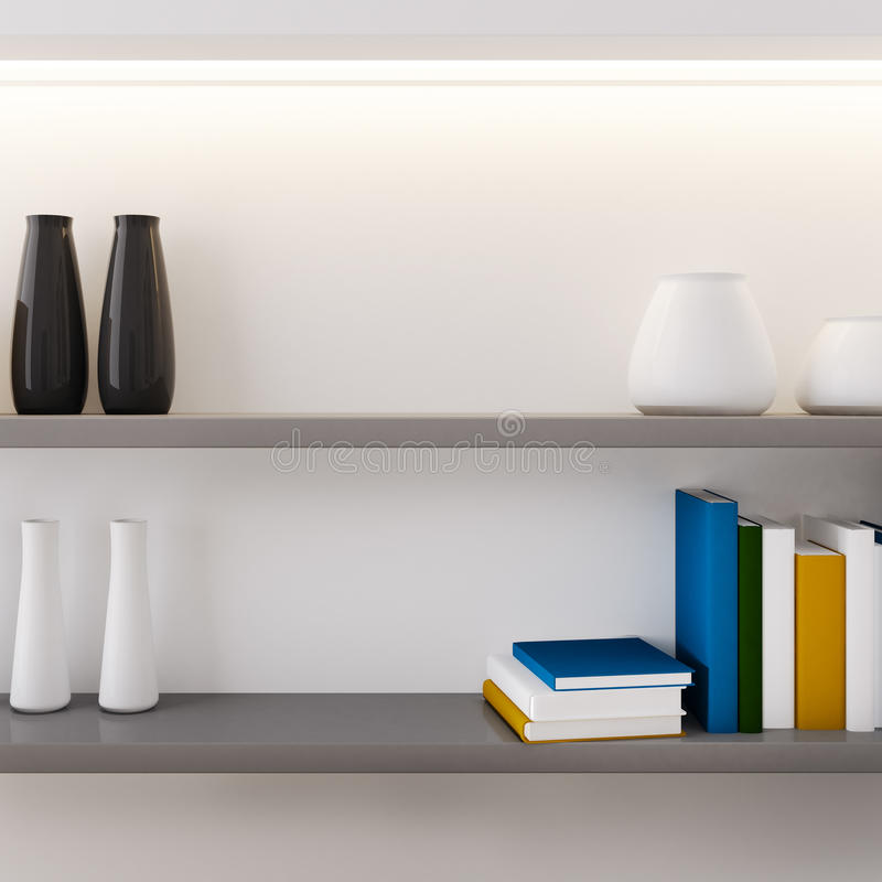 Vase et livre décorés sur le plan rapproché d'étagère illustration libre de droits