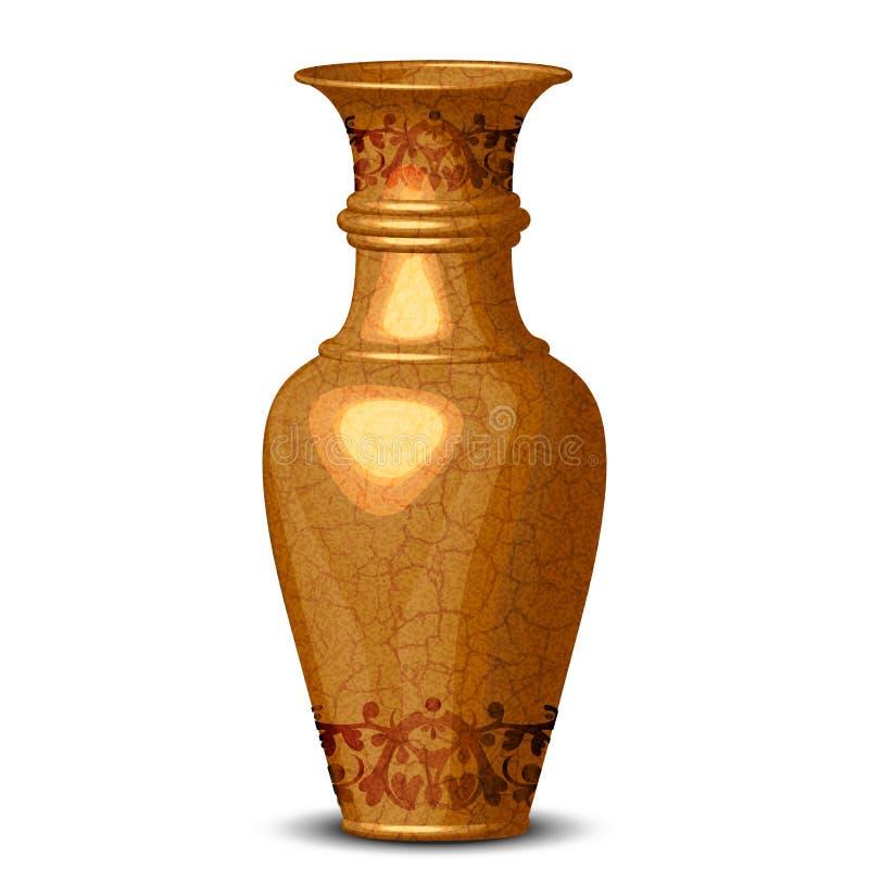 Vase fleuri d'or illustration de vecteur