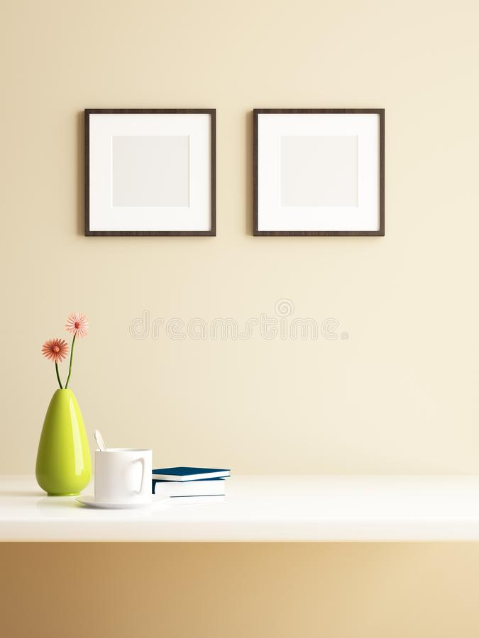 Vase flower and frame picture decorations stock illustration