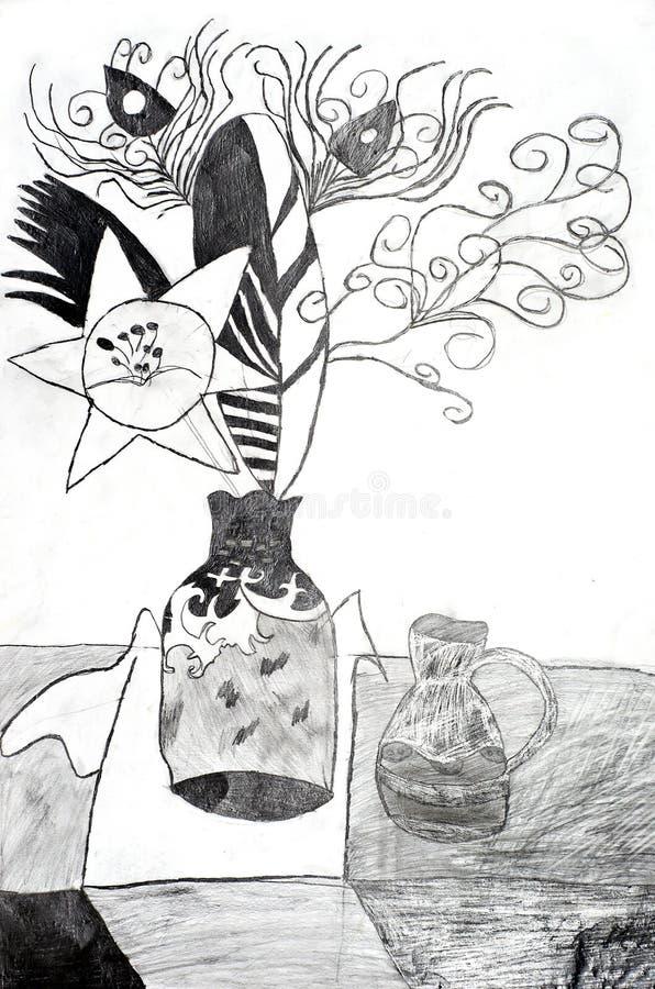 Vase and flowers black-white stock illustration