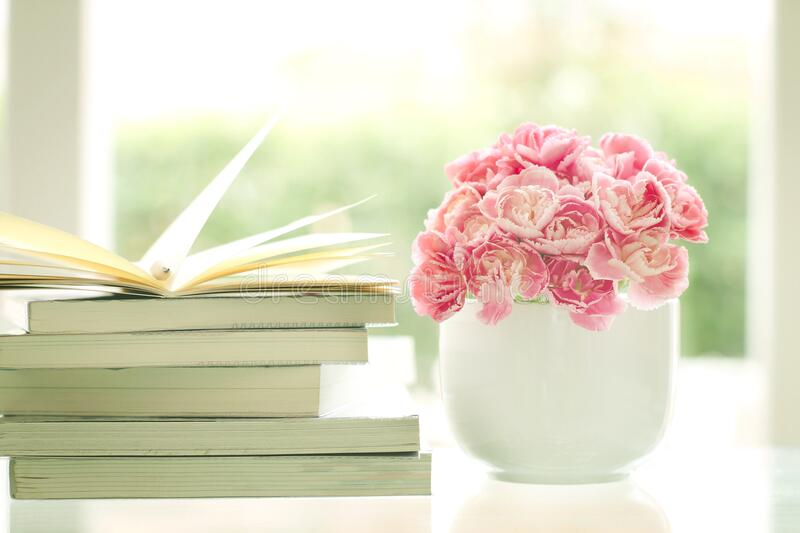Vase of flowers with books stock images