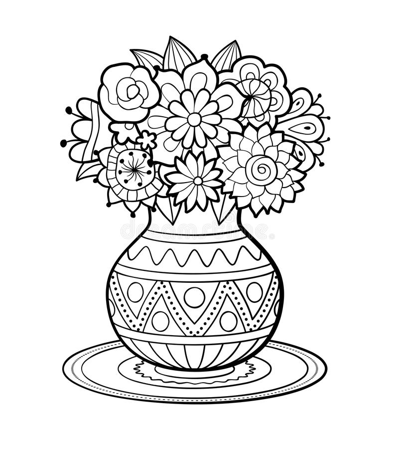 Vase of flowers. With geometric ornament standing on round napkin. Black and white outline vector illustration. Antistress coloring page for adults stock illustration