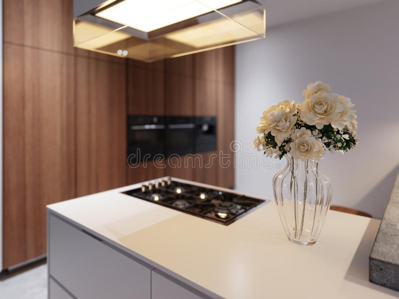 Vase of flowers on the kitchen countertop in the evening light. Modern kitchen in contemporary style stock illustration