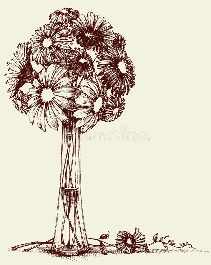 Vase of flowers. Wedding bouquet sketch retro style royalty free illustration