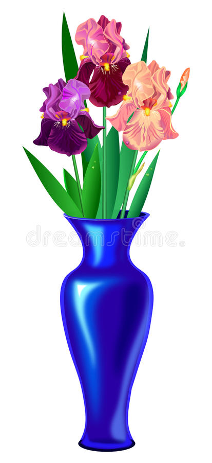 Vase with irises. Vase with three irises stock illustration