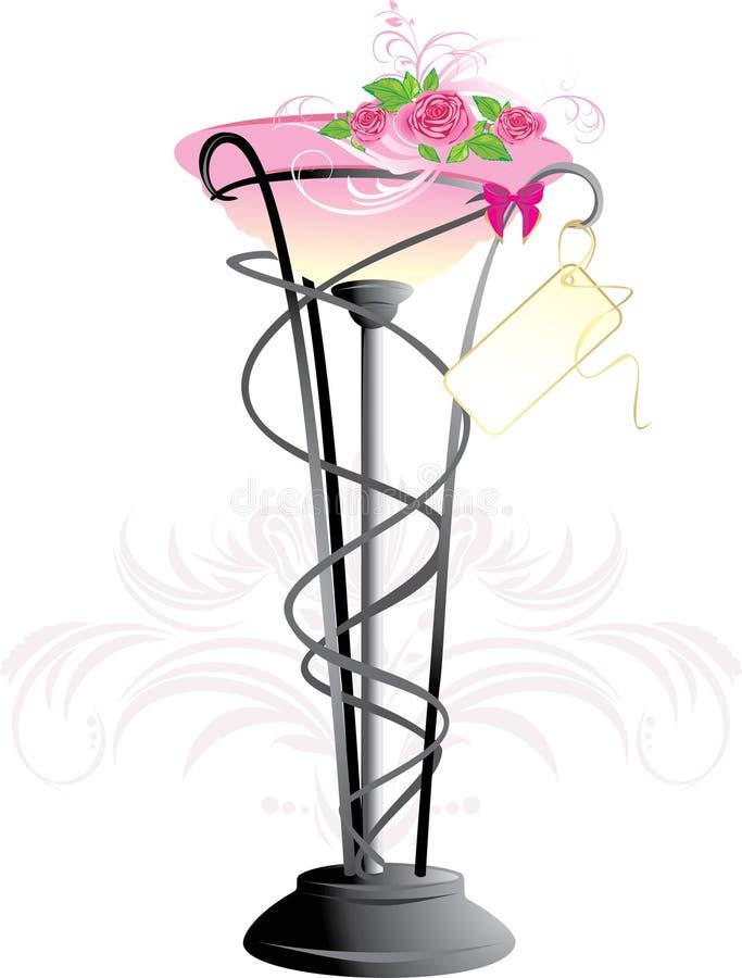 Vase mit Blumenstrauß der rosafarbenen Rosen lizenzfreie abbildung