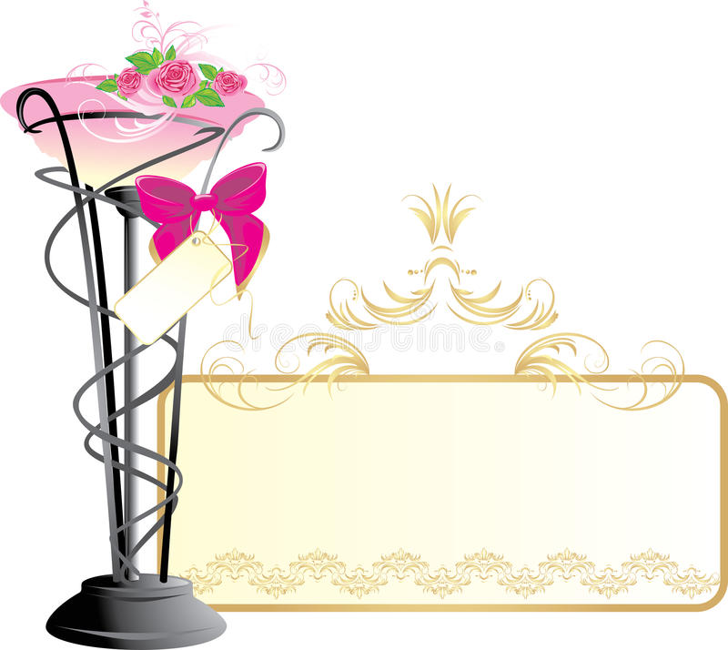 Vase mit Blumenstrauß der rosafarbenen Rosen und des Bogens vektor abbildung
