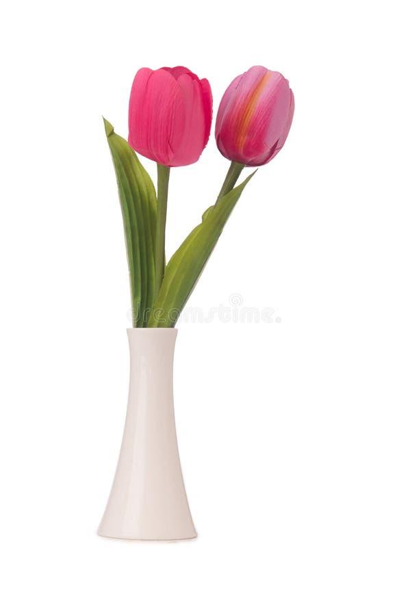 Vase mit bunten Tulpen auf Weiß stockbild