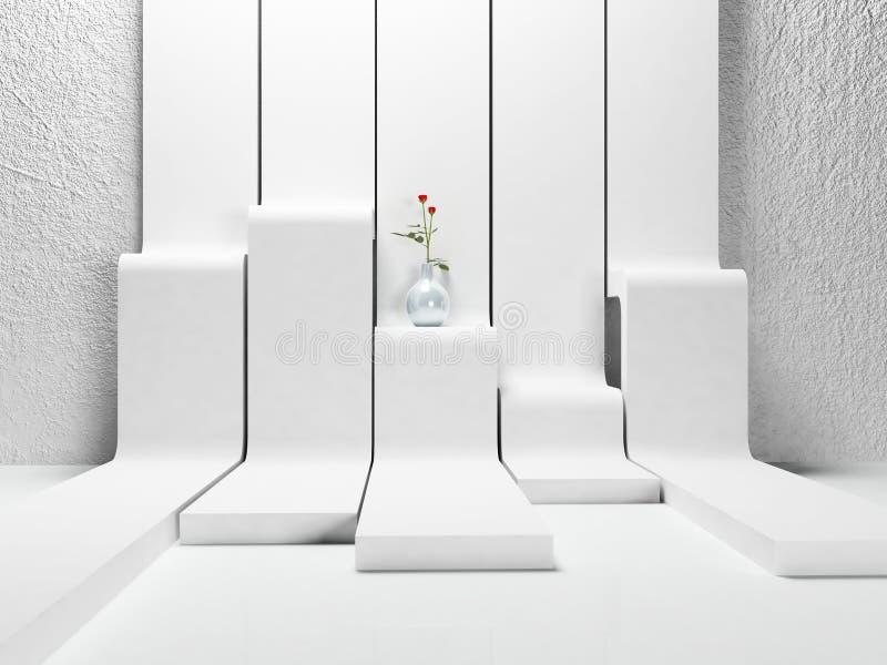 Vase mit den Rosen auf dem Bau lizenzfreie abbildung