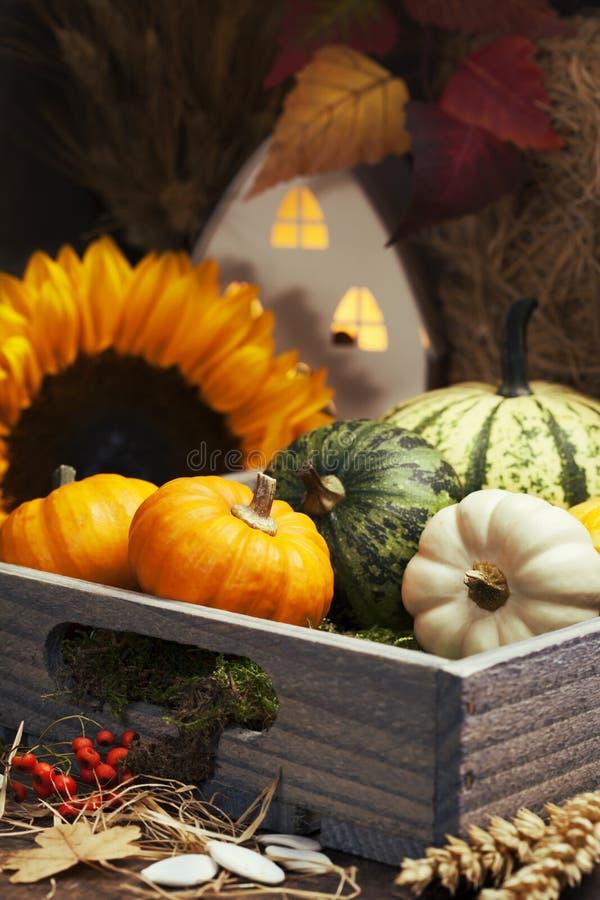 Vase mit trockenen Blättern, Apfel und Kerzen auf dem Rausschmiß stockfotografie