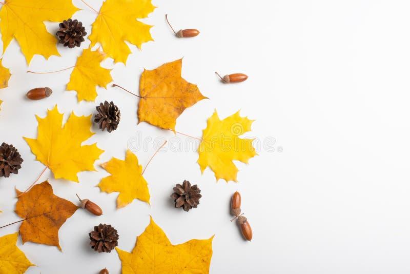 Vase mit trockenen Blättern, Apfel und Kerzen auf dem Rausschmiß Muster gemacht vom Herbstlaub Flache Lage, Draufsicht, Kopienrau stockfotos