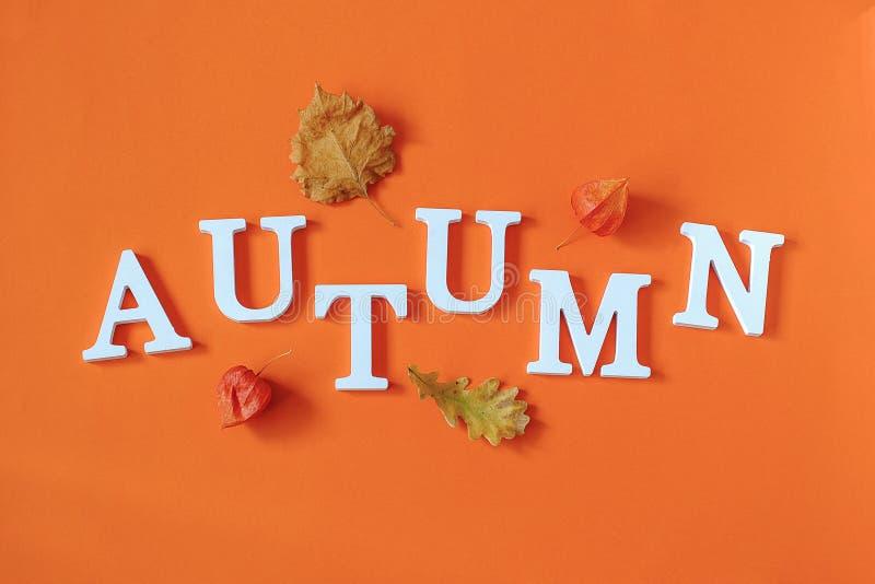 Vase mit trockenen Bl?ttern, Apfel und Kerzen auf dem Rausschmi? Wort-Herbst von den weißen Buchstaben und von hellem Herbstlaub  stockbild