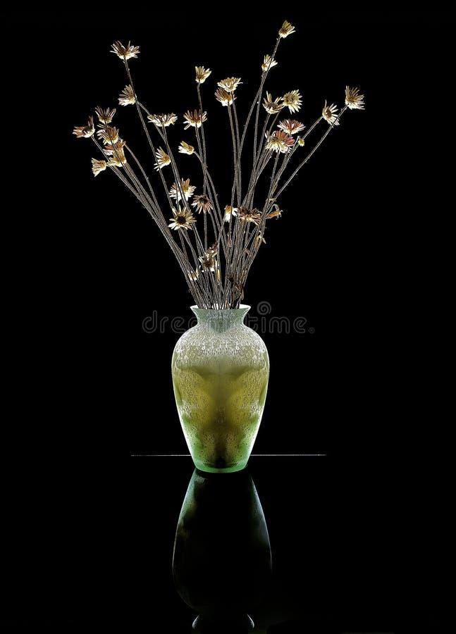 Vase mit trockenen Blumen. lizenzfreie stockfotos