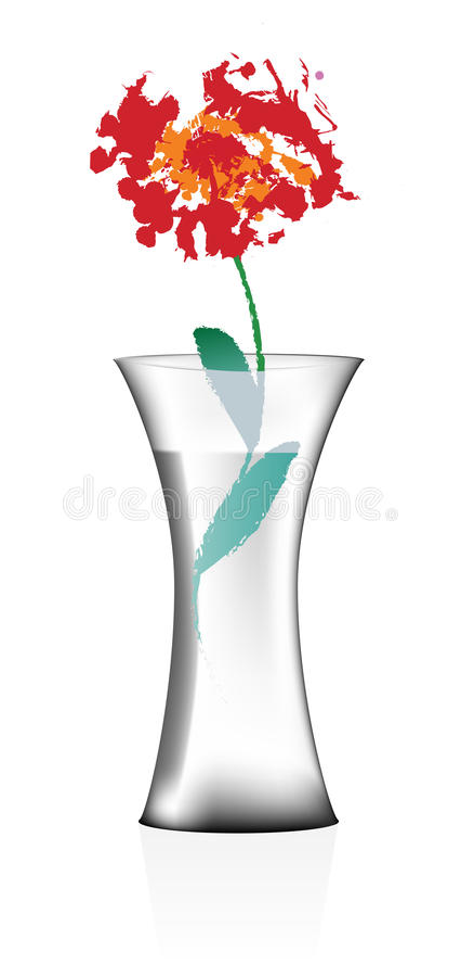 Vase mit Wasser und Blume lizenzfreies stockfoto