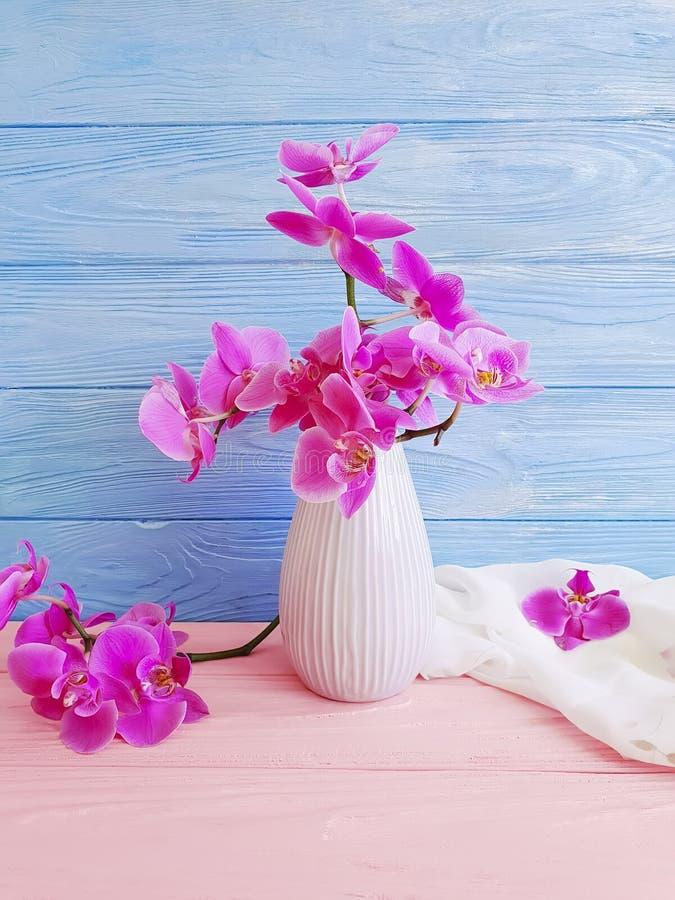 Vase orchid flower vintage decor elegance on wooden background stock images