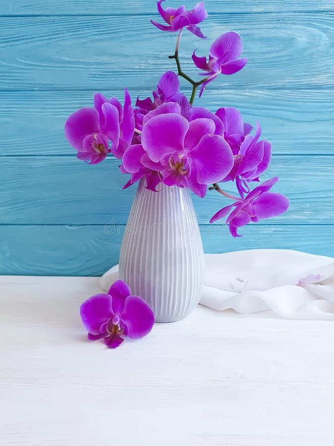 Vase orchid flower on wooden floristic background elegance congratulation, blue, fresh, spring royalty free stock image