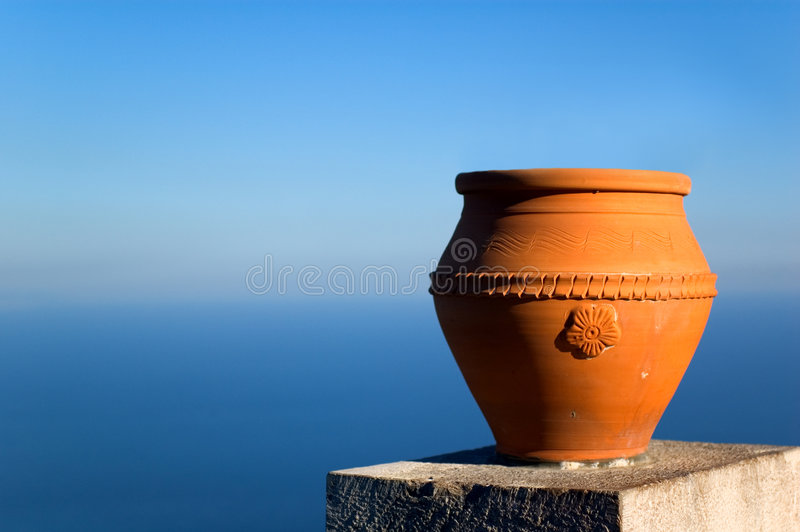 Vase overlooking sea stock photography