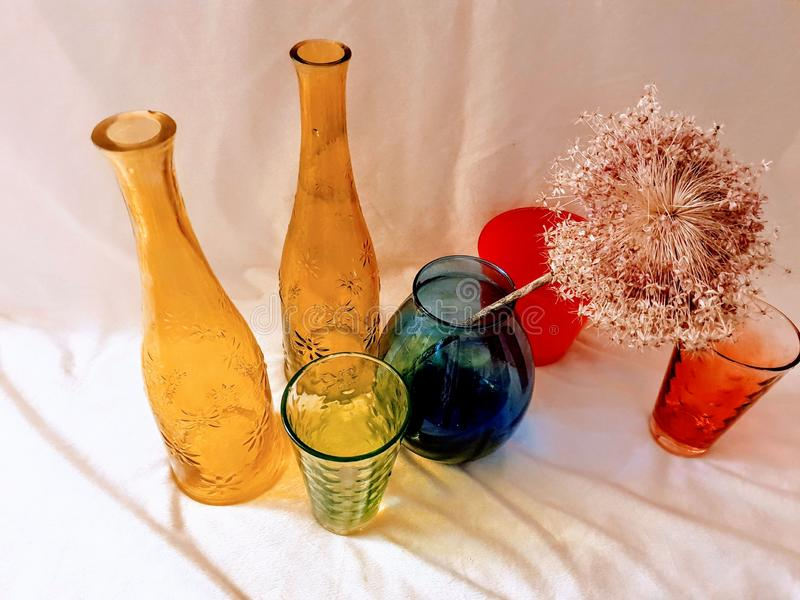 Vase Plate Glass Red Yellow Blue Color modern photo art design. Blue Vase ,red and green Glass, Yellow Blue Color modern photo art design colors royalty free stock image