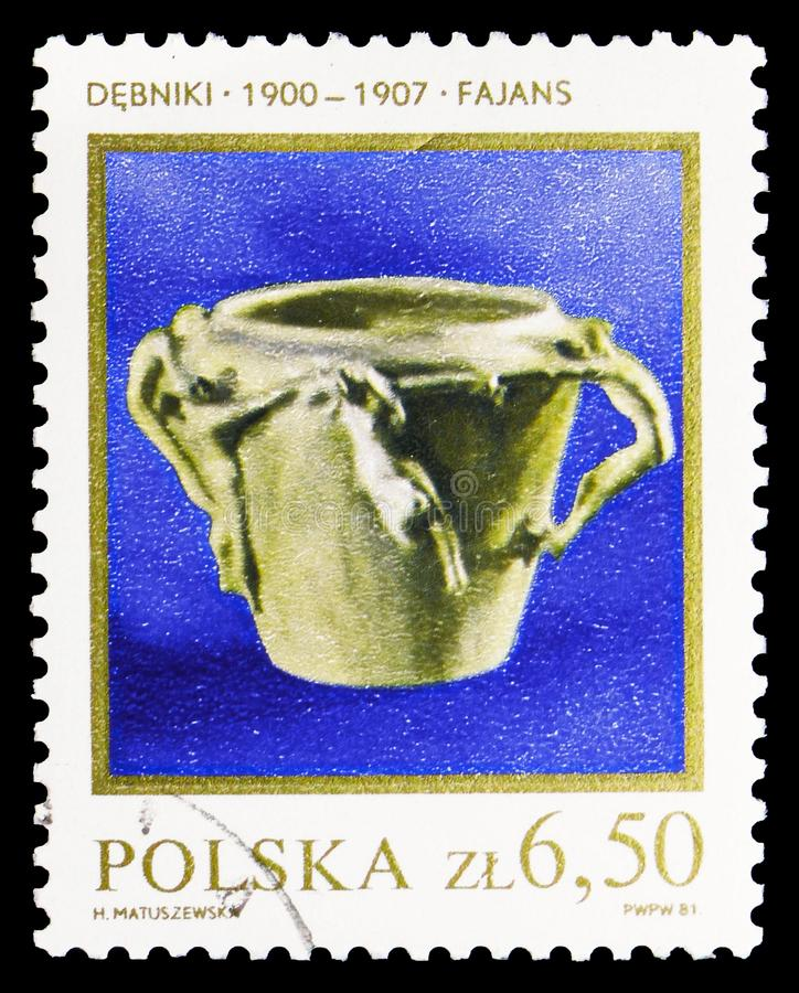 Vase, 1900, Polish Ceramics (1) serie, circa 1981. MOSCOW, RUSSIA - SEPTEMBER 15, 2018: A stamp printed in Poland shows Vase, 1900, Polish Ceramics (1) serie stock images