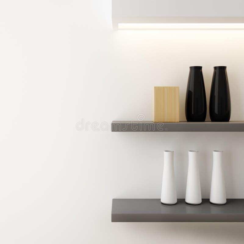 Vase pour décoré sur le plan rapproché d'étagère illustration stock