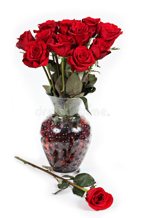 Vase of red roses. royalty free stock image
