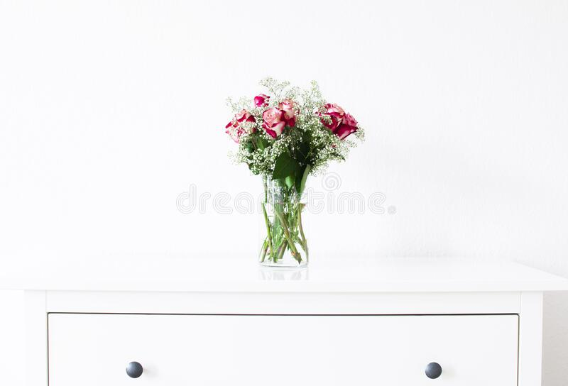 Vase with Red and White Roses stock photo