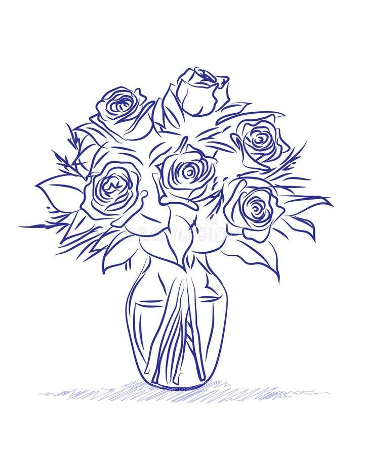 Vase of roses stock illustration