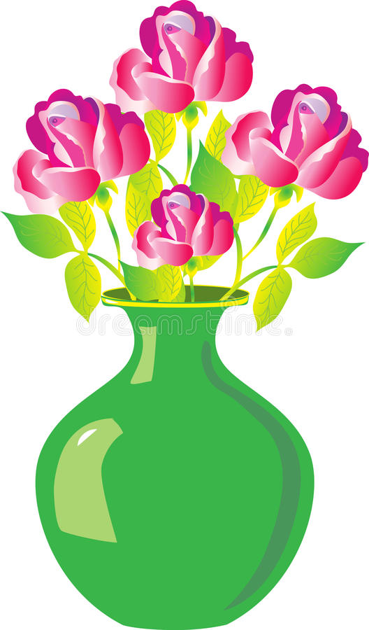 A vase of roses. A green vase with red roses stock illustration