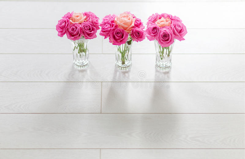 Vase with roses. Magenta roses with one coral rose on white background stock images