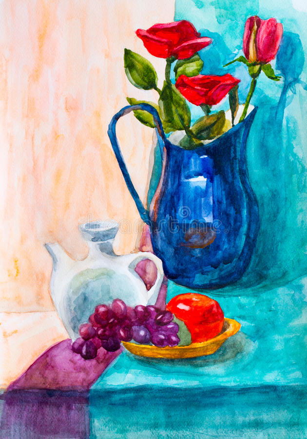 Vase and roses, watercolor drawing stock photos
