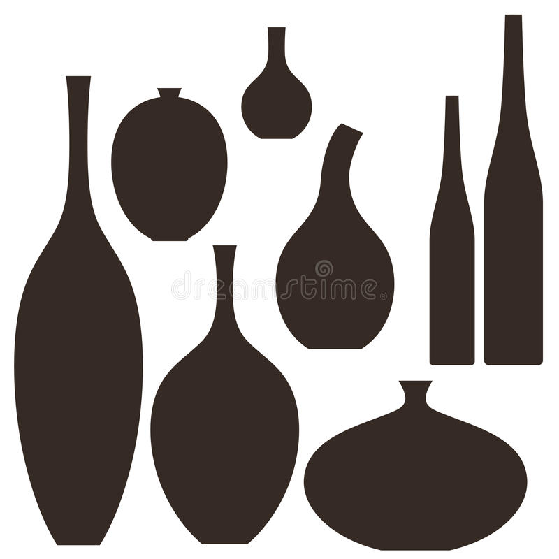 Vase. Set. Isolated objects on white background. Vector illustration (EPS 10 vector illustration