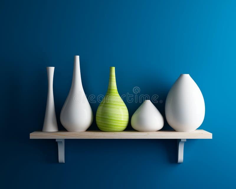 Vase on shelf with blue wall interior royalty free illustration