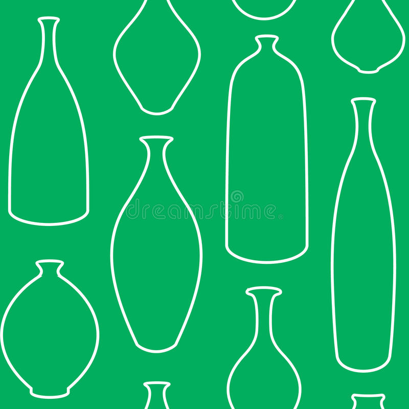 Vase. Vector seamless pattern with vases and bottles stock illustration