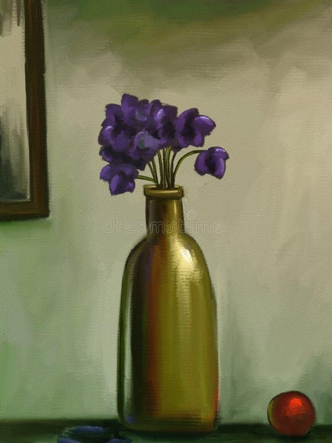 Download Vase Of Violet Flowers - Digital Painting Stock Illustration - Image: 23136158