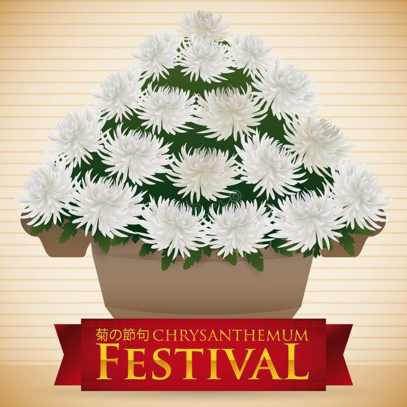 Vasen av den vita krysantemumet blommar mycket för festivalen, vektorillustration vektor illustrationer
