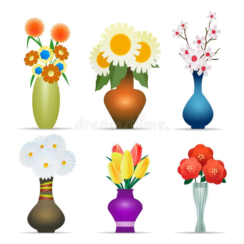 Vasen mit den Blumen eingestellt lizenzfreie abbildung