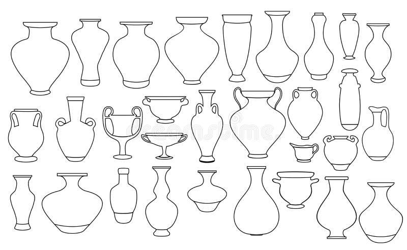 Vasen und Amphora-Sammlung Vase-Töpferei, antike Pot-Grieche-Illustration vektor abbildung