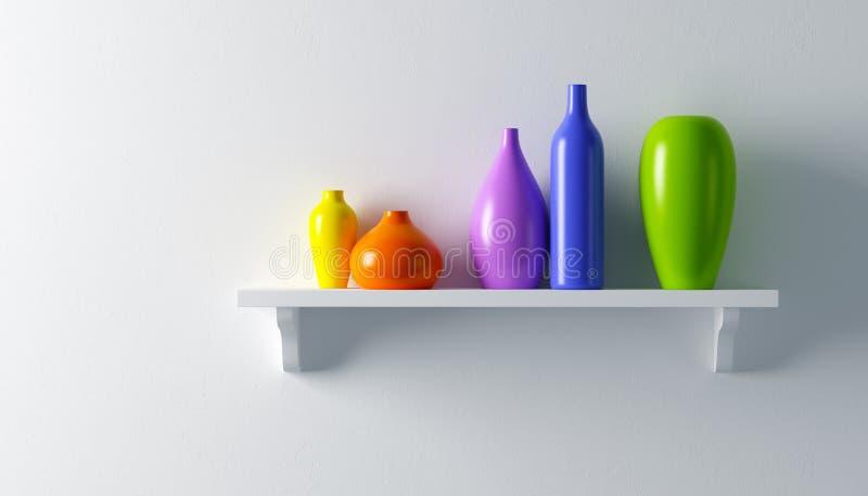Vases à céramique sur l'étagère illustration libre de droits