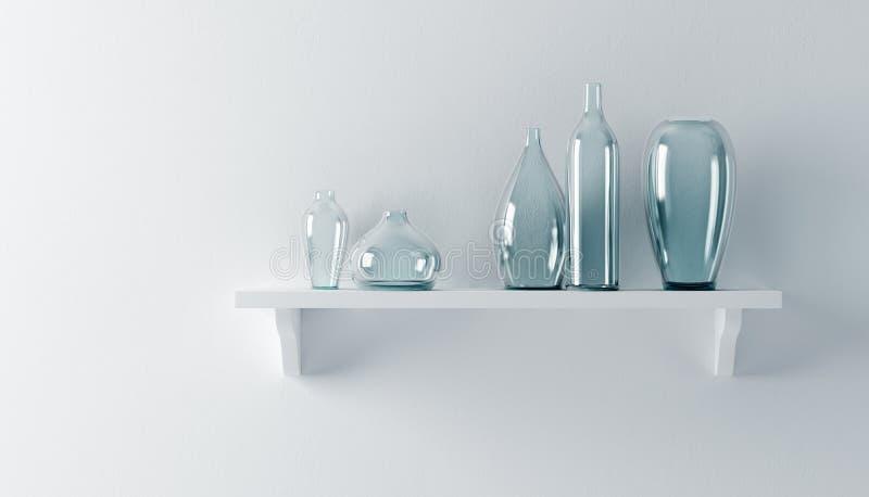 Vases à céramique sur l'étagère illustration de vecteur