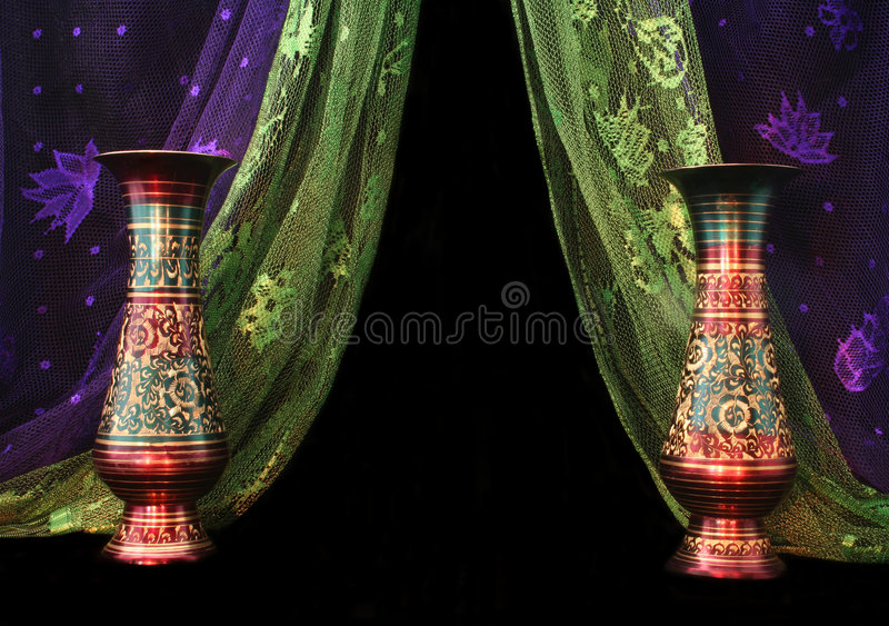 Download Vases stock image. Image of asian, green, scarves, mantle - 1377509