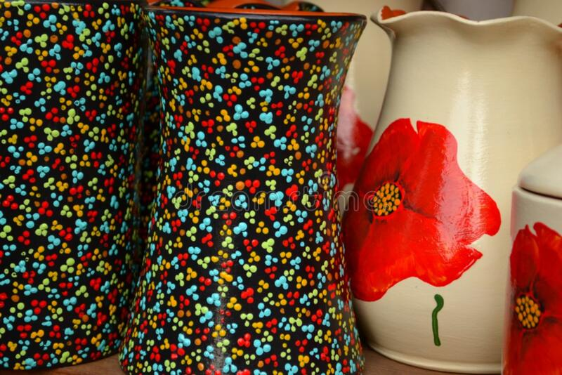vases-with-floral-motifs royalty free stock image