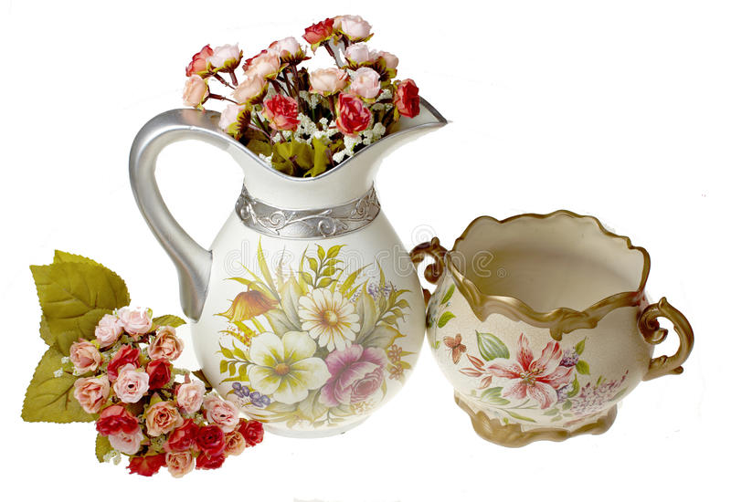Vases with flowers stock photography