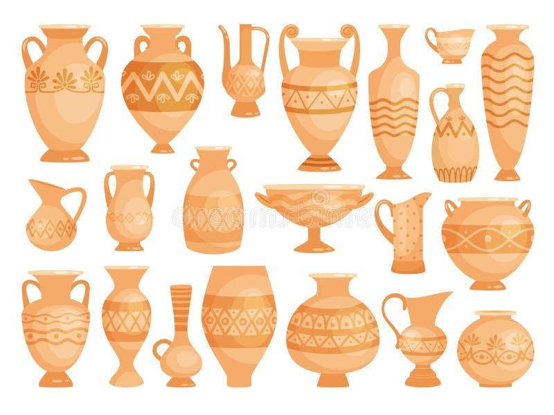 Vases grecs Pots décoratifs antiques d'isolement sur blanc, cuvettes en céramique de vieille d'argile de vecteur poterie antique  illustration libre de droits