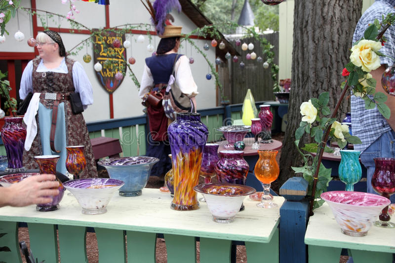 Vases made from molten glass. KENOSHA, WI - SEPTEMBER 4: Vases made from molten glass at the demonstration at the annual Bristol Renaissance Faire on September 4 stock photography