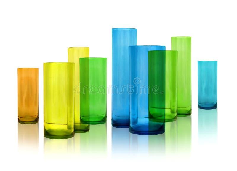 Vases modernes en verre de couleur images stock