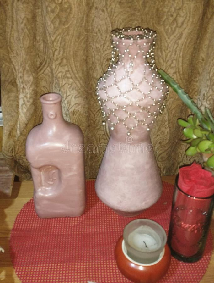 Vases roses photos stock