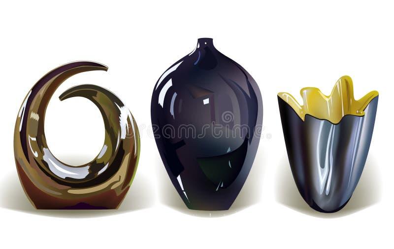 Vases, set, realistic objects royalty free illustration