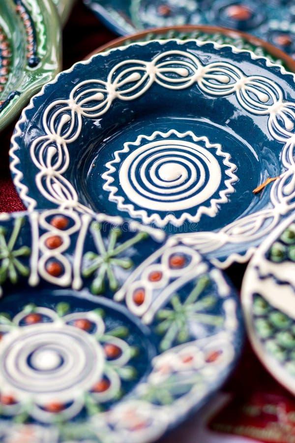 Vasi ceramici del modello floreale tradizionale immagini stock