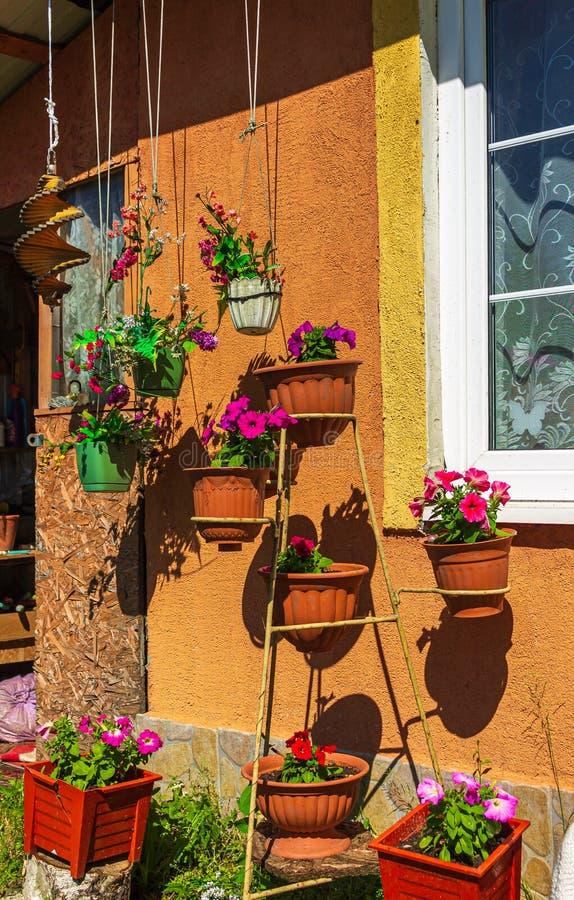 Vasi con i colori luminosi sui precedenti della parete della casa un giorno soleggiato di estate immagini stock libere da diritti